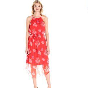 Lucky Brand Red Pop Floral Halter Dress